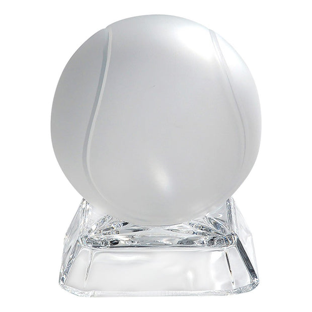 European Lead Free Crystalline Desk / Tabletop Paperweight - Frosted Etched Tennis Ball on Clear Square Base
