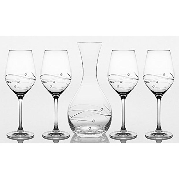European Handmade Lead Free Crystalline 41 oz. Carafe W/ 4 Red Wine 16 oz. Glasses - Decorated with Real Swarovski Diamonds - Gift Boxed (Set of 5)