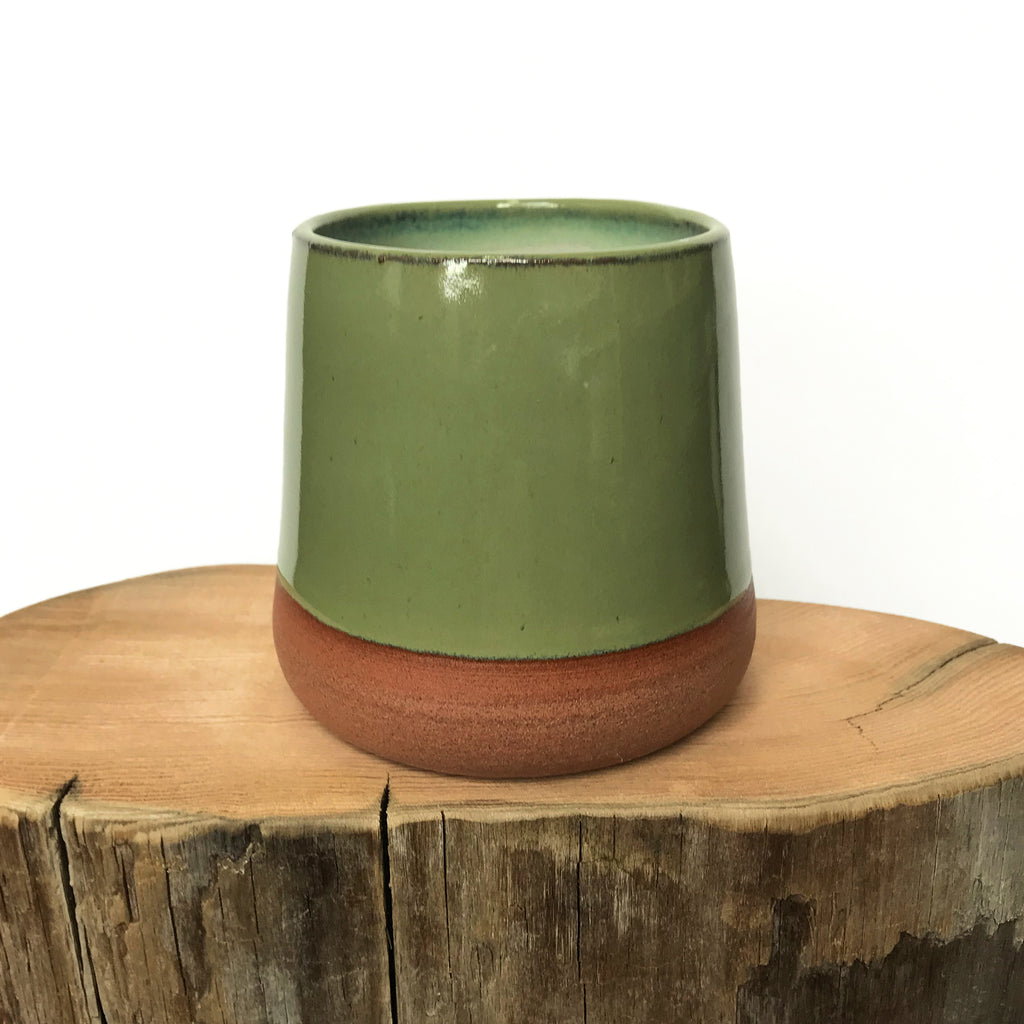 Mossy Green Tumbler. Handmade unique mug. Hands On Pottery.