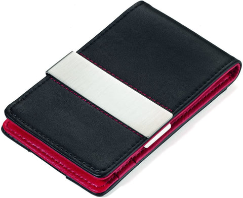 Credit Card Case Red and Black Flat Wallet with RFID Protection