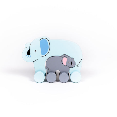 Elephant Mommy & Baby Push Toy