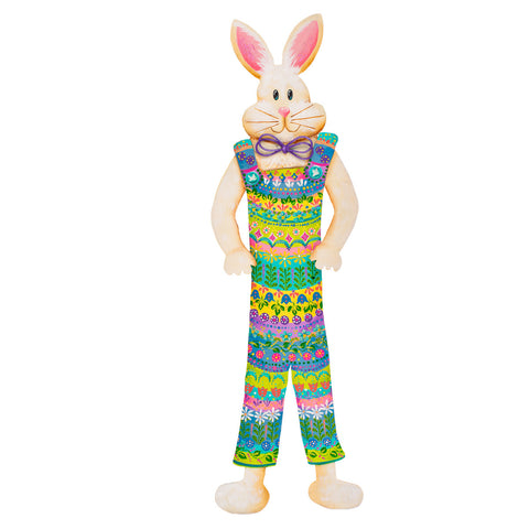 Folk Art Rabbit in Overalls