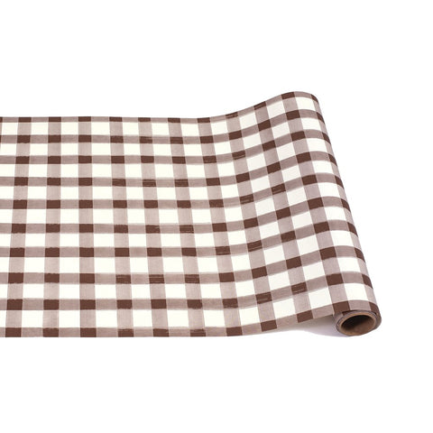 Brown Painted Check Table Runner