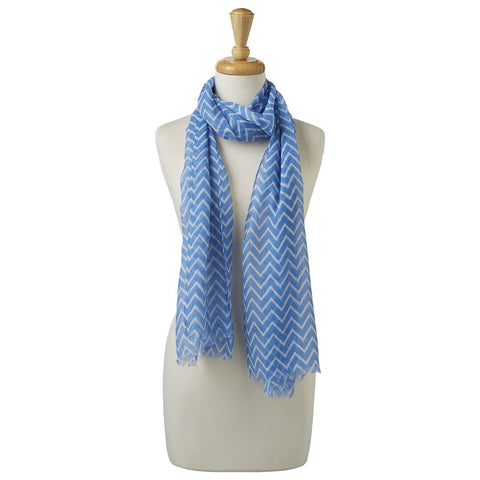 Double Striped Scarf - Blue