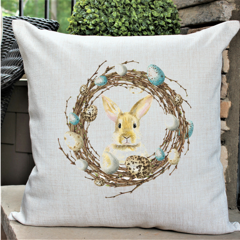 """One Bunny in Wreath"" Pillow"