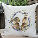 """Two Bunnies in Wreath"" Pillow"
