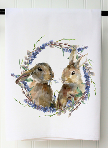 """Two Bunnies in Wreath"" Towel"