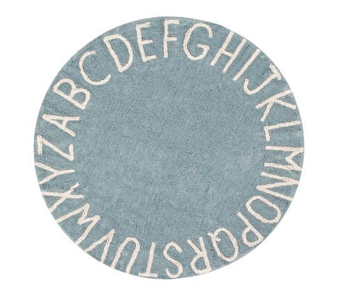 Washable Rug Round ABC Vintage - Blue