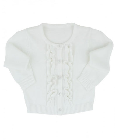 Winter White Ruffled Cardigan