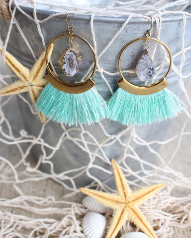 Kinsley Armelle Mint Fringe Earrings