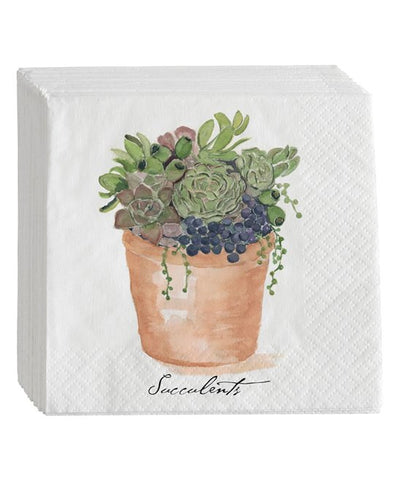 Succulent Pot Napkins - Set of 16