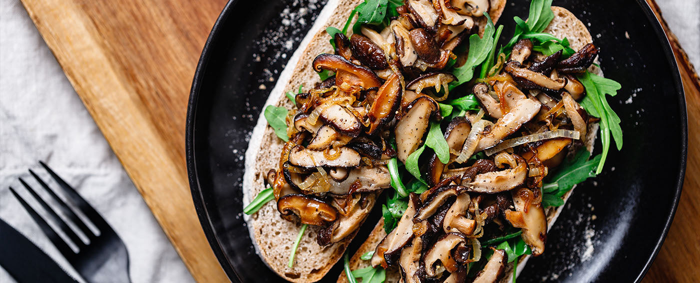 Wild Mushroom Sandwich with Caramelized Onions and Truffle Aioli article banner