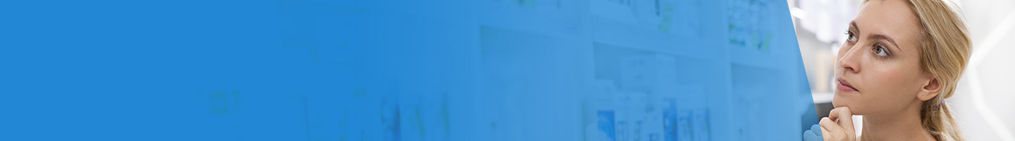 STORE LOCATOR page banner with thinking woman displayed on the right and blue overlay on the left