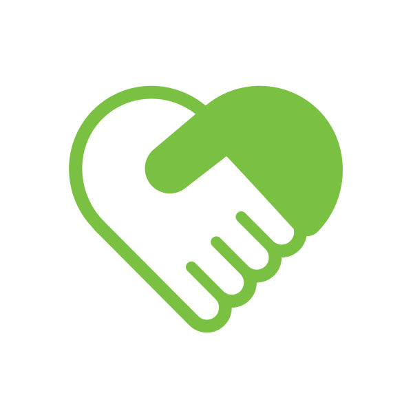 two hands in a handshake forming a heart