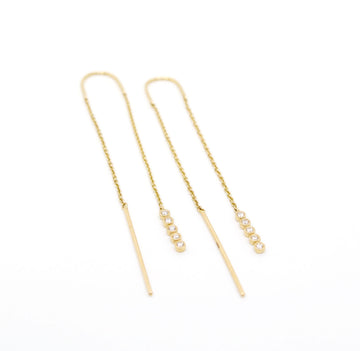 5 Diamond Thread Through Earrings