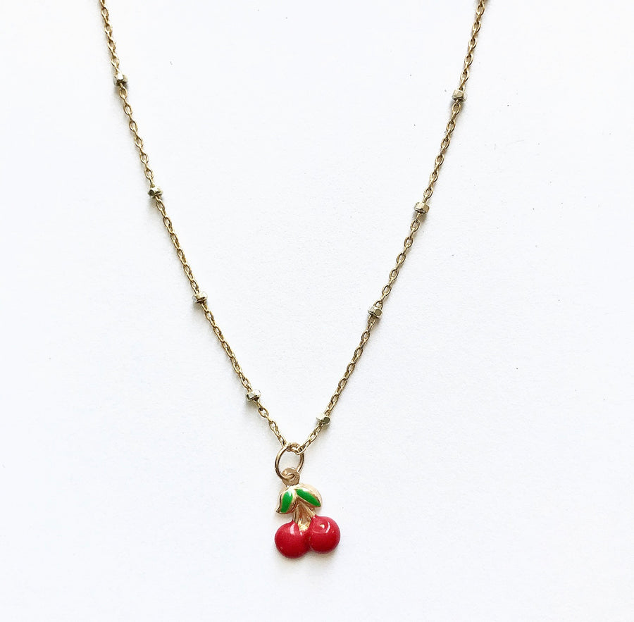 Cherry 14K Gold Charm Necklace