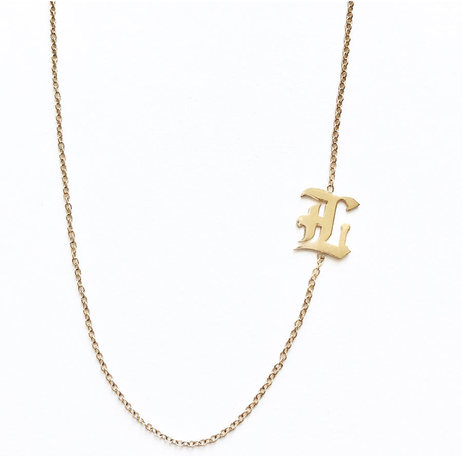 Old English Single Letter Necklace Solid 14K Gold