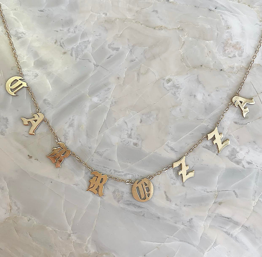 Custom Love Letter Space Necklace Solid 14k gold