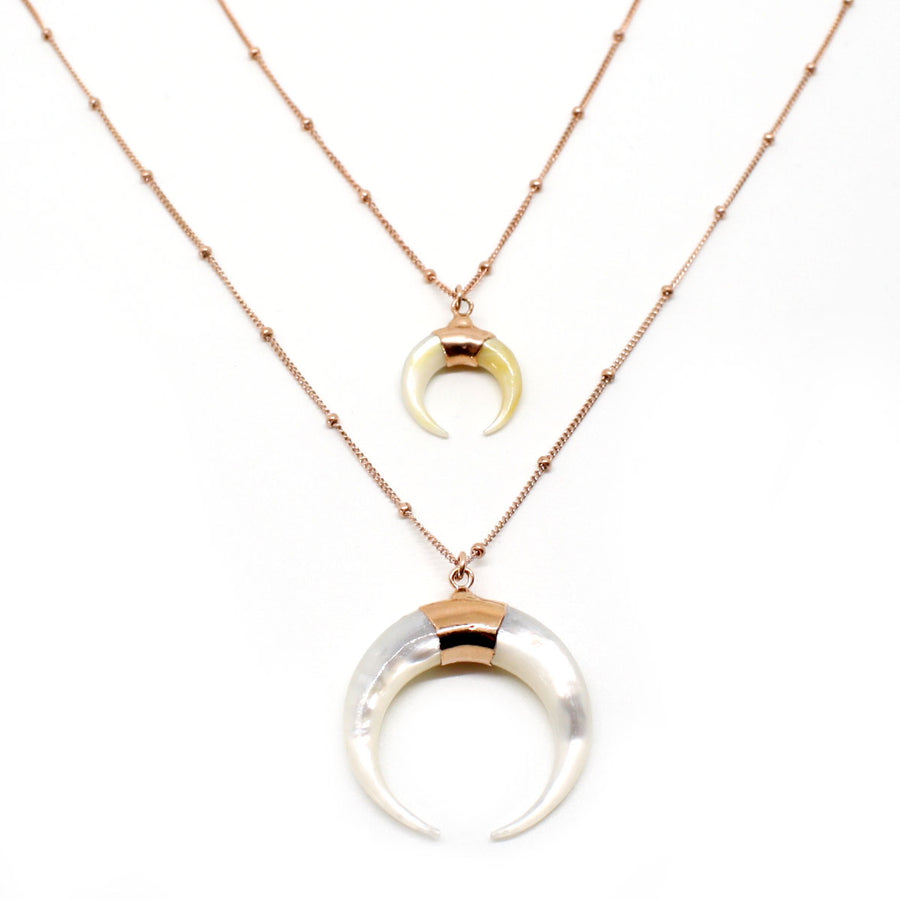 Love Mother of Pearl Horn Necklace