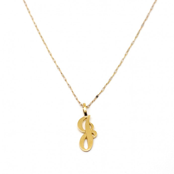 Cursive Solid Gold Single Letter Necklace