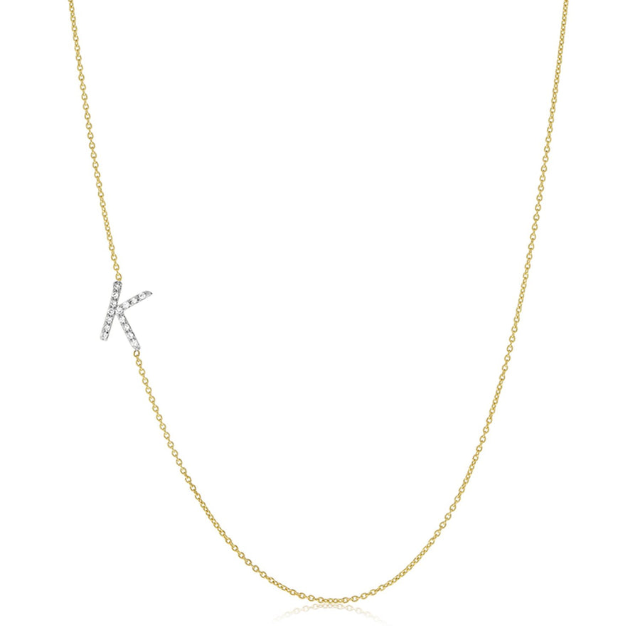 Dimond Letter Sideways Necklace