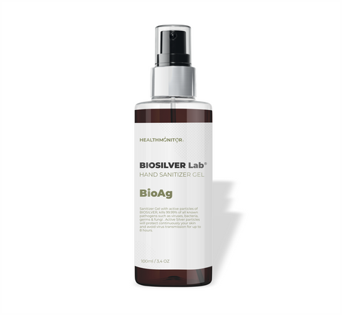 Sanitizer Gel with active particles of BIOSILVER, kills 99.99% of all known pathogens such as viruses, bacteria, germs & fungi . Active Silver particles will protect continuously your skin and avoid virus transmission for up to 8 hours.