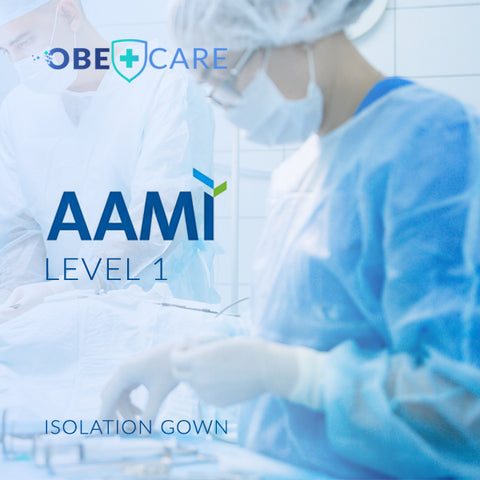 Disposable long sleeves surgical gown. Full back protection, breathable material. AAMI level 1, FDA approved.