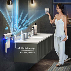 Toothbrush Sanitizer Family Case with UV Light and Toothpaste Dispenser - Solar Powered
