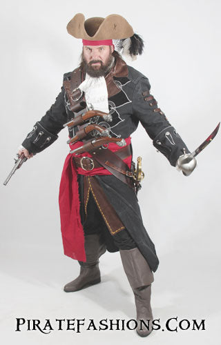 A scurvy pirate in full regalia brandishing weapons
