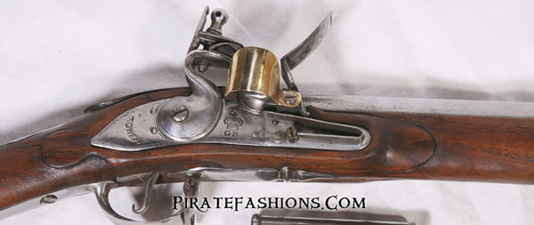 first model brown bess flintlock musket lock detail