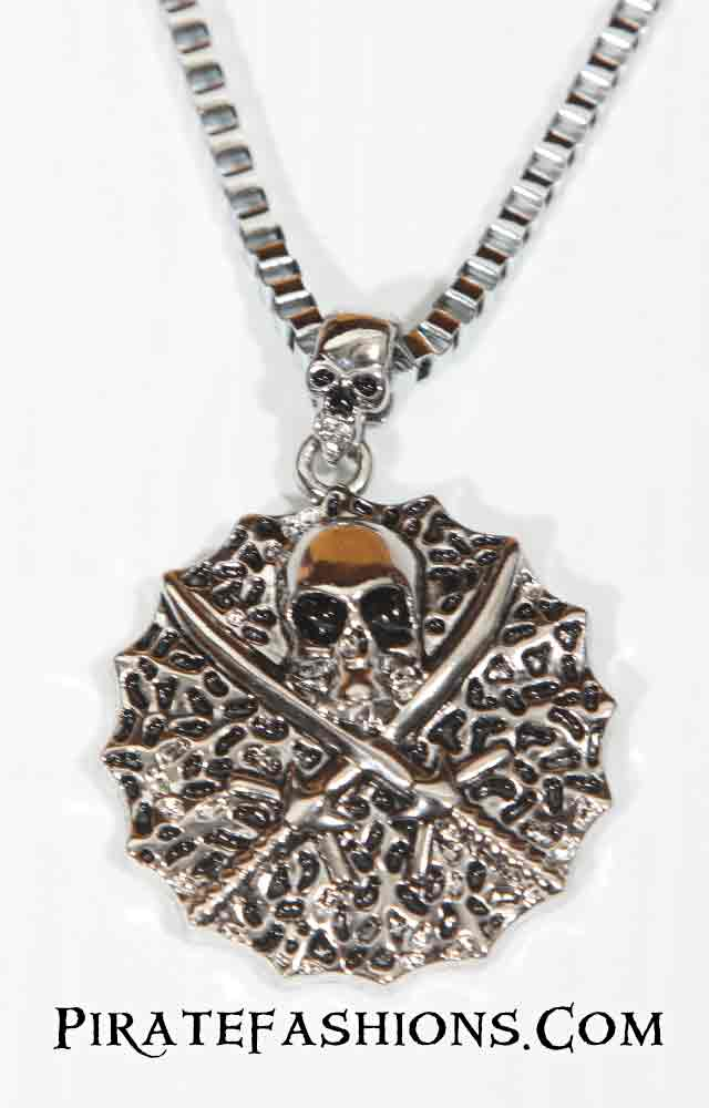 Large Skull N Cross Sword Pendant