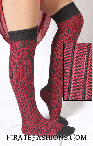 Black and Red Striped Wicked Wench Socks