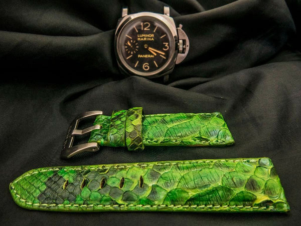 PYTHON LEATHER STRAP - GREEN GARDEN