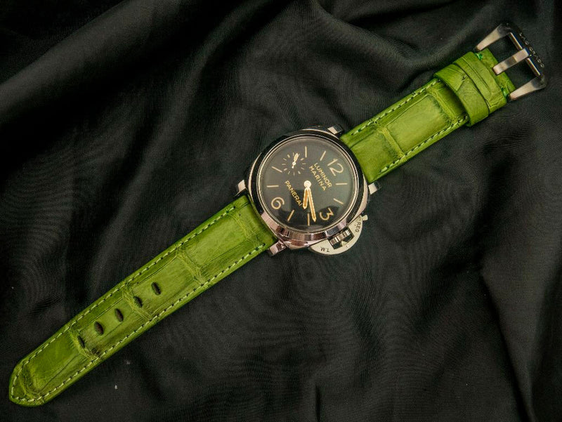 CROCODILE BELLY LEATHER STRAP - KIWI