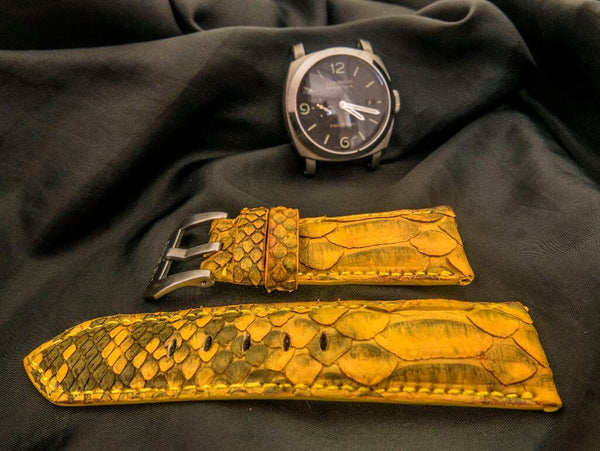 PYTHON LEATHER STRAP - SUNFLOWER