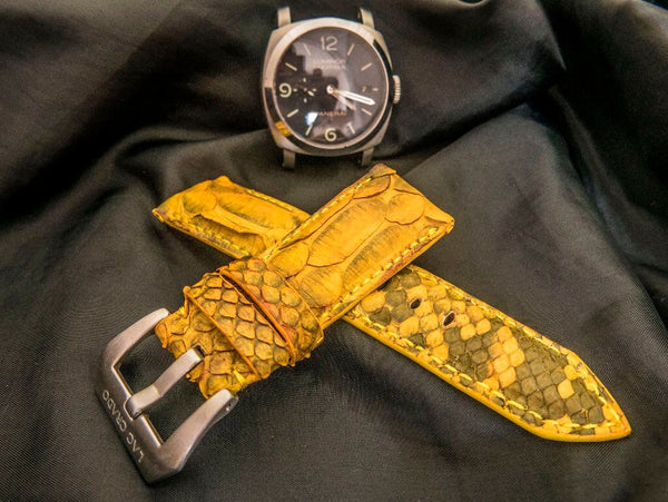 PYTHON LEATHER STRAP FOR PANERAI - SUNFLOWER