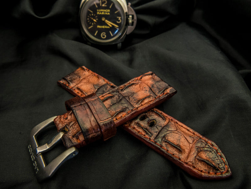 CROCODILE HORNBACK LEATHER STRAP - CRIMSON