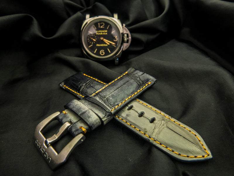 CROCODILE BELLY LEATHER STRAP - PEARL RIVER