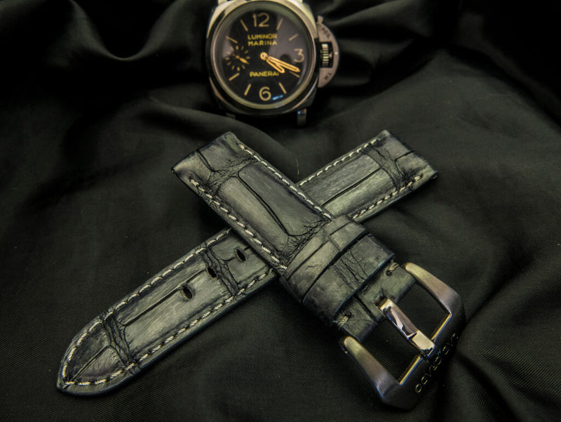 CROCODILE BELLY LEATHER STRAP - THE GREY