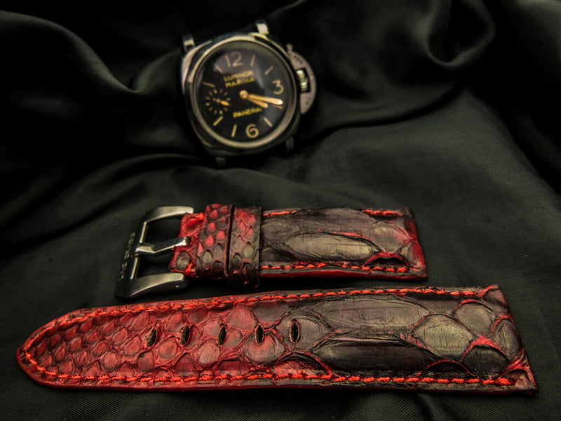 PYTHON LEATHER STRAP - RED SPIDER LILY