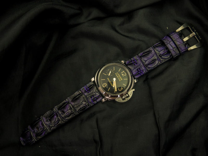 CROCODILE HORNBACK LEATHER STRAP - LAVENDER