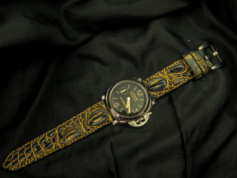 CROCODILE HORNBACK LEATHER STRAP - IRON-WOOD