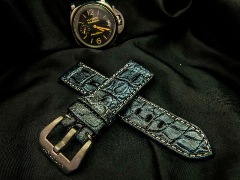 CROCODILE HORNBACK LEATHER STRAP - OCEAN