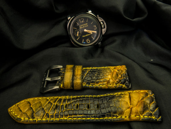 CROCODILE HORNBACK  LEATHER STRAP - BEE