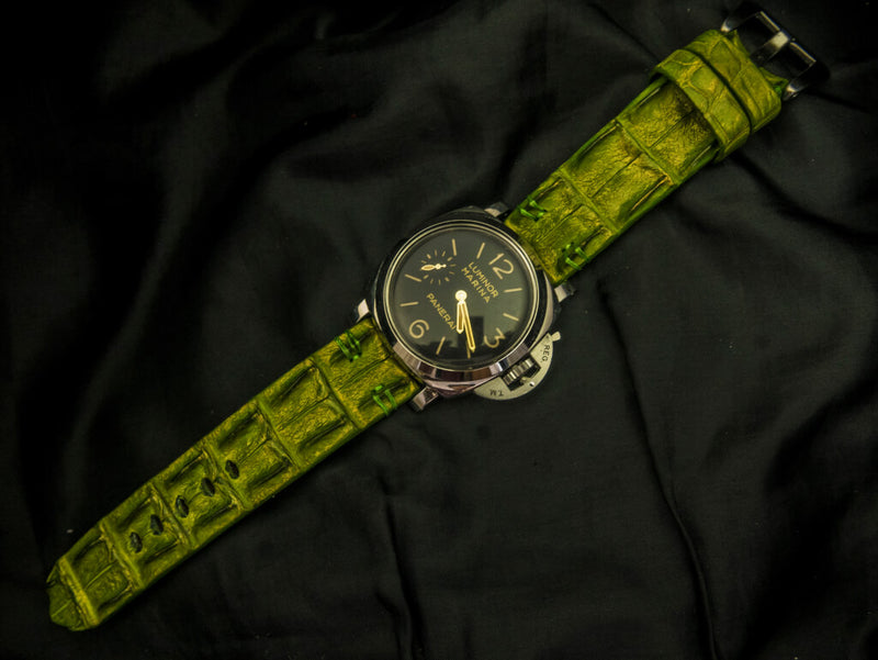 CROCODILE HORNBACK LEATHER STRAP - PERIDOT