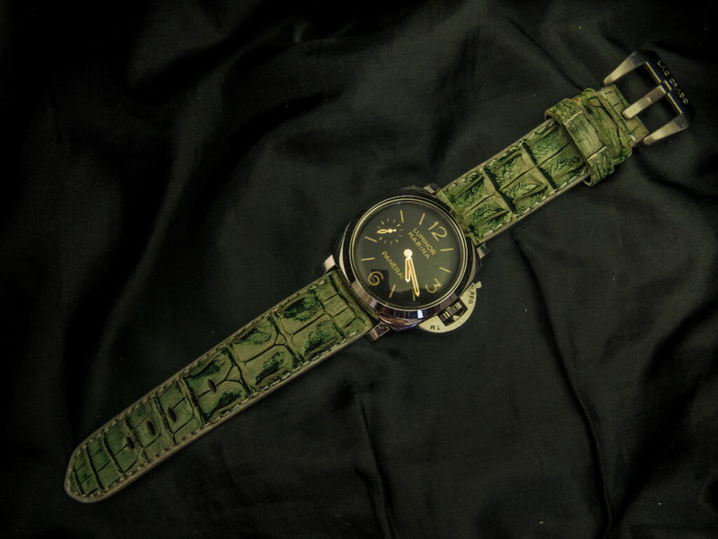 CROCODILE HORNBACK LEATHER STRAP - LEMON