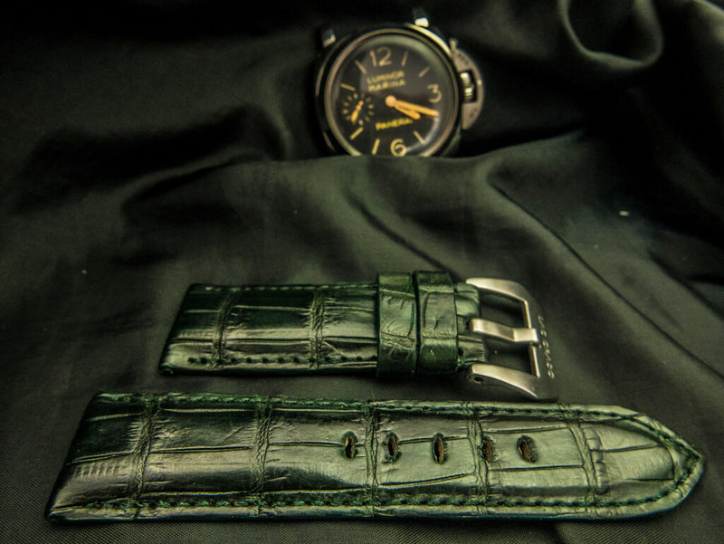 CROCODILE BELLY LEATHER STRAP FOR PANERAI - SHAMROCK
