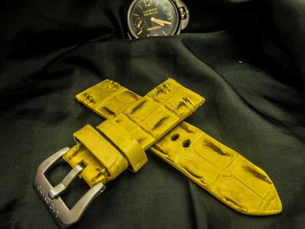 CROCODILE HORNBACK LEATHER STRAP - YELLOW