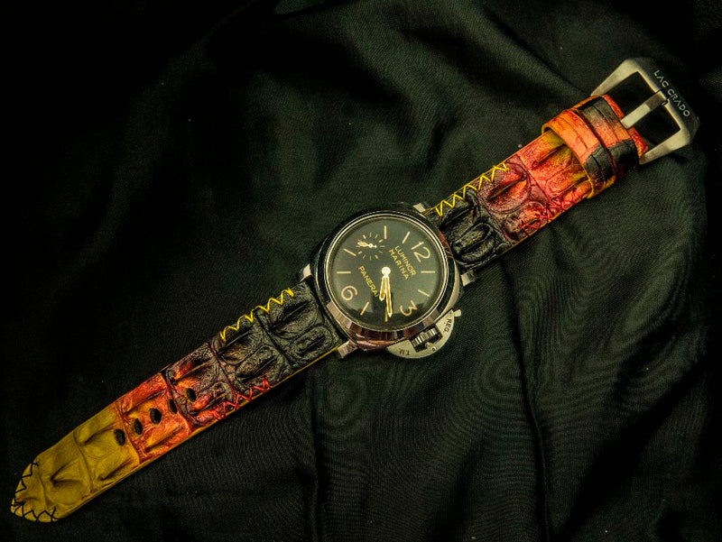 CROCODILE HORNBACK LEATHER STRAP - RHODES