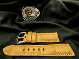 CROCODILE BELLLY LEATHER STRAP - BEIGE